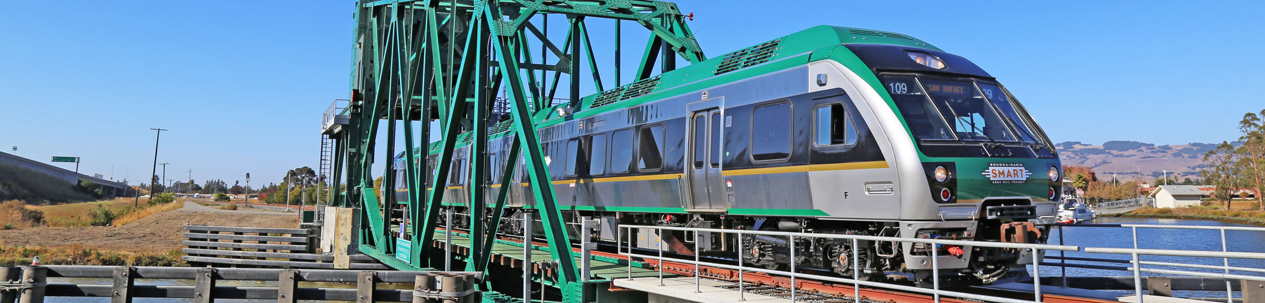 SMART Train crosses Haystack Bridge in Petaluma.